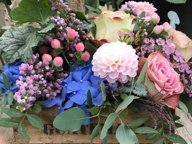 Romantic Mixed Flower Arrangement box in soft colors
