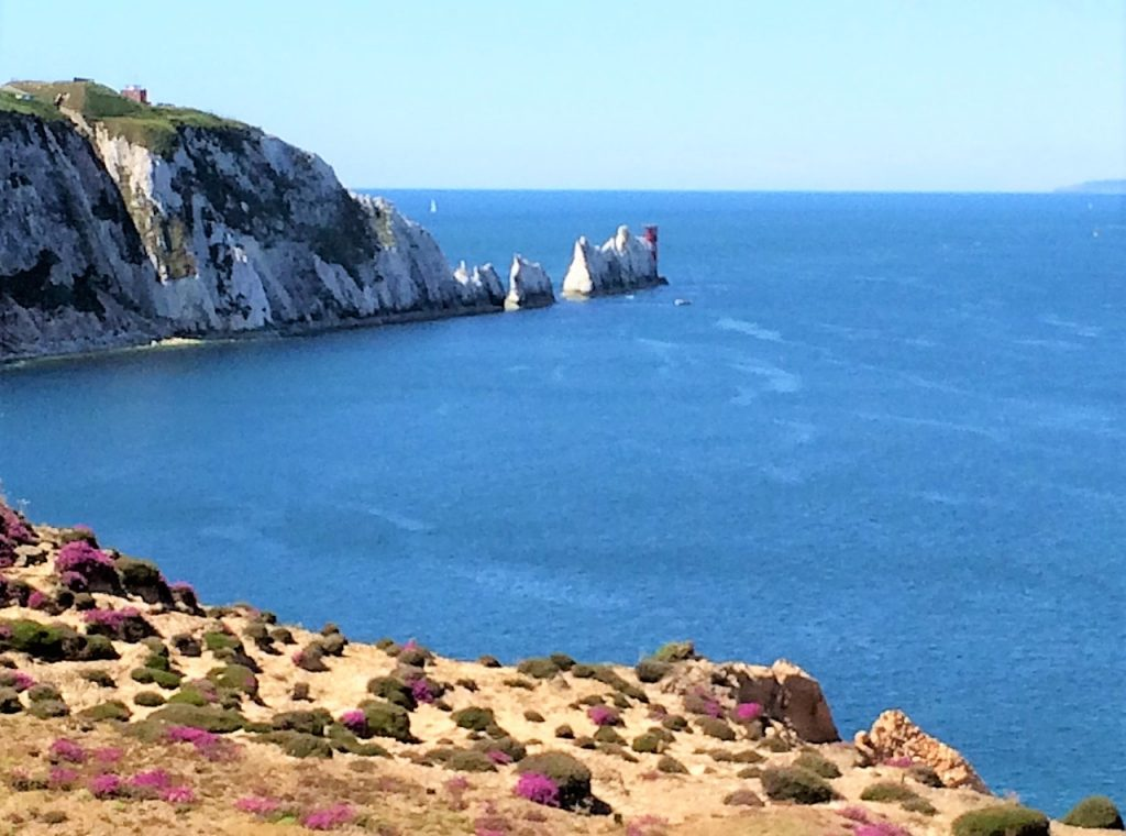 View on the Needles Isle of Wight from Gondel with blue see